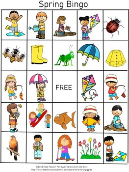 Special Education Kindergarten SPRING BINGO Game + Memory Game