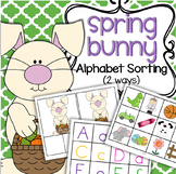 SPRING BUNNY Alphabet Centers Upper and Lower Case, Beginning Sounds