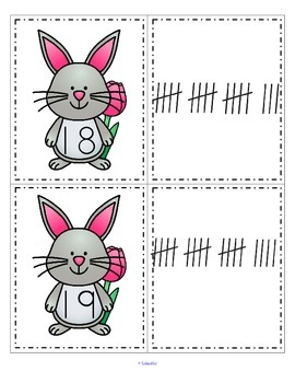 SPRING BUNNY Numbers Tally Marks Match 0-20 FREE