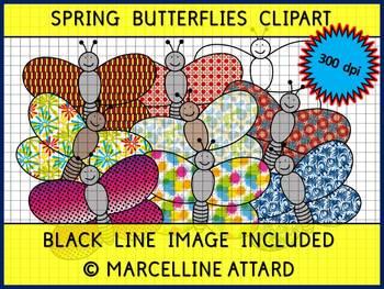 SPRING CLIPART: BUTTERFLIES CLIPART