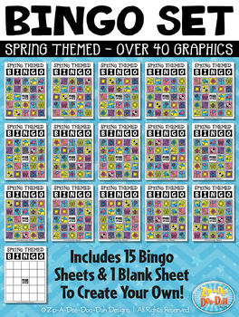 SPRING Bingo Cards Printable & Clipart Set {Zip-A-Dee-Doo-Dah Designs}