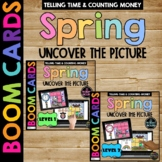 SPRING Boom Cards™ Uncover the Picture Set 2 Telling Time and Counting Money