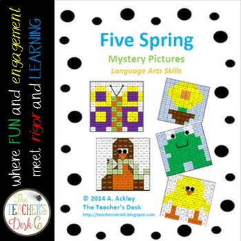 SPRING Bundle of Five Mystery Pictures Parts of Speech