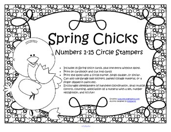 SPRING Chicks Numbers Counting to 15 Bingo Dot Markers Fine Motor Activity