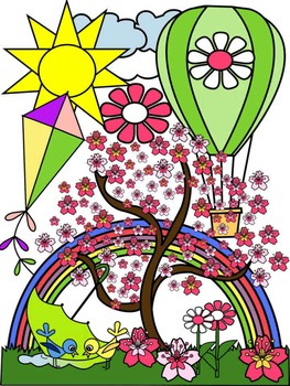 SPRING CLIP ART * COLOR AND BLACK AND WHITE
