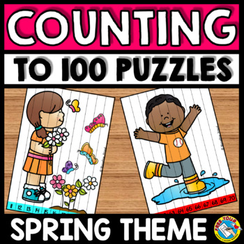 KINDERGARTEN MATH CENTER: SPRING MATH PUZZLES: NUMBERS TO 100 COUNTING CENTER