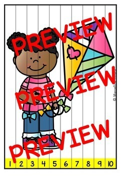 SPRING MATH CENTER KINDERGARTEN (MAY ACTIVITY PUZZLES) NUMBERS TO 100 PRACTICE