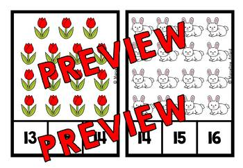SPRING COUNTING TO 20 TASK CARDS (SPRING ACTIVITY KINDERGARTEN MAY MATH CENTER