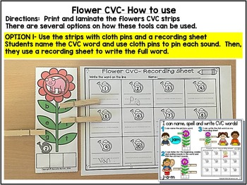 CVC LITERACY CENTER ACTIVITY FOR KINDERGARTEN- FLOWER-SPRING THEME