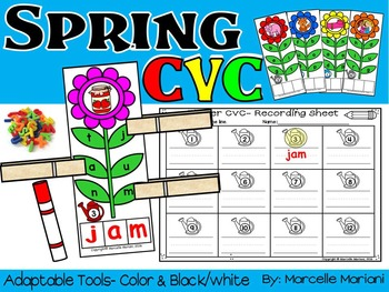 SPRING CVC LITERACY CENTRE ACTIVITY FOR KINDERGARTEN