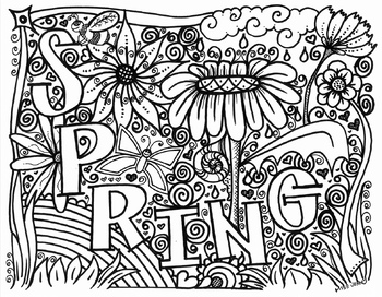 SPRING Coloring Page with flowers by Miss Jenny Designs TpT
