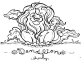 SPRING DANDY-LION coloring page, clip art, writing prompt, biology
