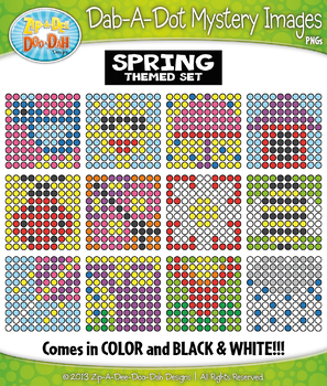 SPRING Dab-A-Dot Mystery Images Clipart {Zip-A-Dee-Doo-Dah Designs}