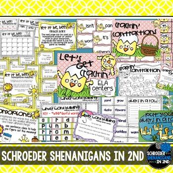 SPRING ELA CENTERS! - 4 Language Arts Centers for 2nd grade!