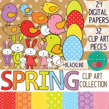 SPRING / Easter Clip Art - Birds, Rabbits, Easter Eggs + 2