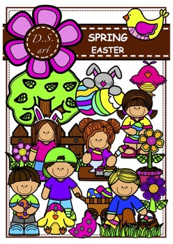 SPRING - Easter Digital Clipart (color and black&white)