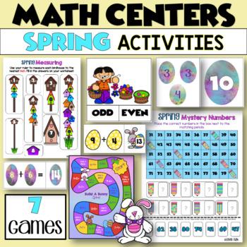 SPRING Easter Math - THREE Center Activities!