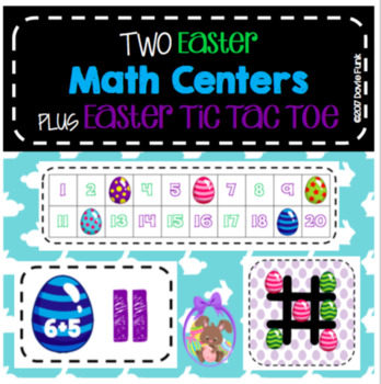 SPRING Easter Math - TWO Center Activities PLUS Easter Tic Tac Toe Game!