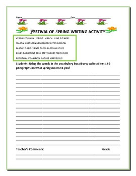 SPRING FESTIVAL WRITING ACTIVITY