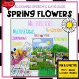 SPRING FLOWERS SPEECH  worksheets SPATIAL CONCEPTS LOW PREP NO PREP