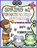SPRING FUN MATH NO PREP PRINTABLES COMMON CORE MAFS PACKET