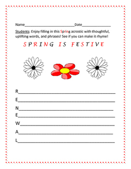 SPRING IS FESTIVE!  ACROSTIC ACTIVITY