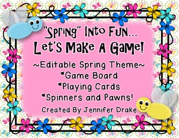 'SPRING' Into Fun!  Spring/Flower Game Board, Cards, Spinners & Pawns!