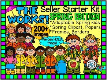 SPRING CLIPART-THE WORKS! SELLER STARTER BUNDLE 200+ IMAGES-CU