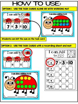 SPRING- LADYBUG ADDITION TASK CARDS & WORK MATS- NUMBERS 1-10