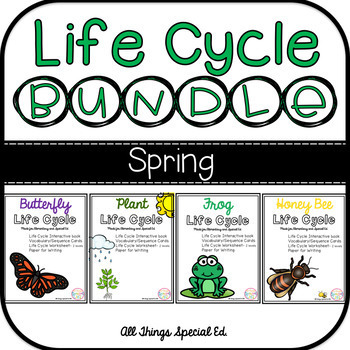 SPRING Life Cycle BUNDLE - Plant, Butterfly, Frog and Bee interactive book