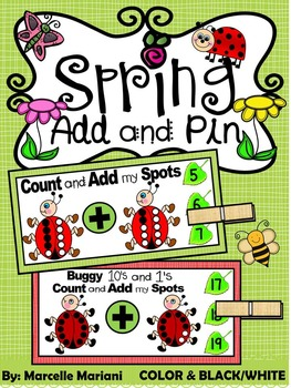 SPRING- MATH CENTER- Add and Pin (1-10 and 10's &1's) Color+Black/White