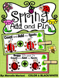 LADYBUG MATH ADDITION CENTER- Add and Pin (1-10 and 10's &1's) Color+BW