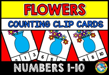 SPRING ACTIVITIES PRESCHOOL (FLOWERS COUNTING CLIP CARDS) NUMBERS 1-10 GAMES