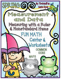 SPRING MEASURING WITH RULERS AND NONSTANDARD ITEMS CENTER WORKSHEETS COMMON CORE