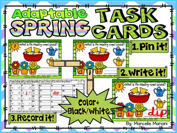 SPRING-MIDDLE Sounds-ADAPTABLE TASK CARDS- Color & Black/White
