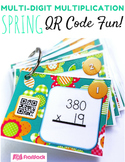MULTIPLICATION Multi-Digit Task Cards with QR Codes | Spring