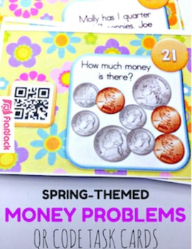 SPRING Math Fun QR Code Task Card Bundle (2nd-3rd grade)