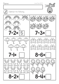 Spring Kindergarten Math and Literacy Worksheets & Activities Distance Learning