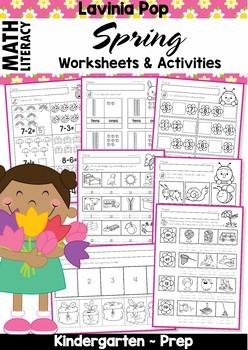 Spring Kindergarten Math and Literacy Worksheets & Activit