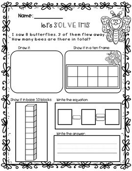SPRING Math Worksheets: Addition and Subtraction