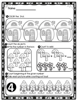 SPRING Math Worksheets for Kindergarten: Counting and Cardinality