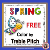 SPRING Music Worksheets: Music Color by Treble Pitch Sheets