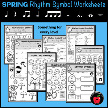 SPRING Music Worksheets: Rhythm Worksheets: Spring Music Symbol Activity Lesson