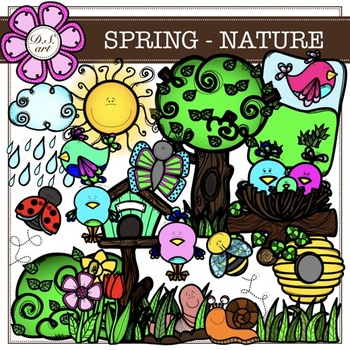 SPRING - NATURE digital clipart (color and black&white)