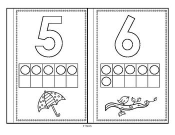 SPRING Theme Numbers 10-Frames Using Bingo Daubers