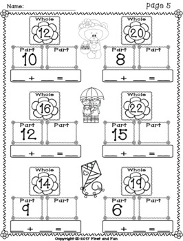SPRING PART PART WHOLE ADDITION NUMBER BONDS MATS N WORKSHEETS COMMON CORE MAFS