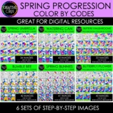 SPRING Progression Color By Code Clipart Bundle