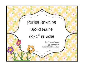 PHONOLOGICAL AWARENESS- SPRING RHYMING GAME -K -1st Grade