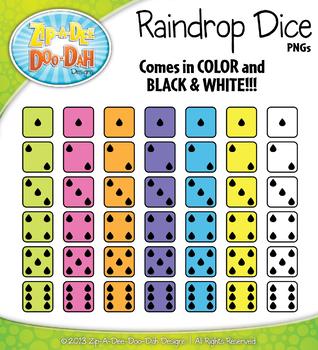 SPRING Raindrop Dice Clipart {Zip-A-Dee-Doo-Dah Designs}