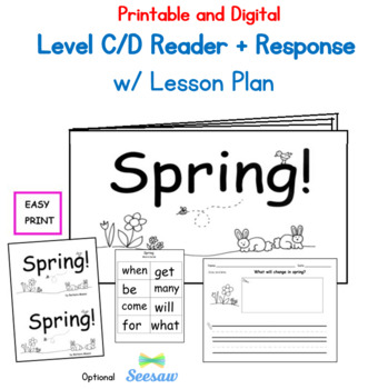 SPRING Printable Book Guided Reading Level C/D with PLANS